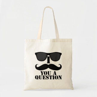Funny I Moustache You A Question Black Sunglasses Tote Bag