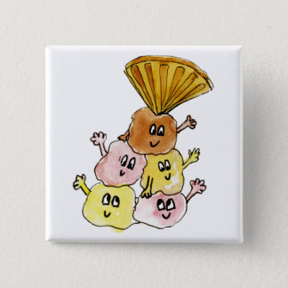 Funny ice Cream Sundae Quirky Watercolour Art 15 Cm Square Badge