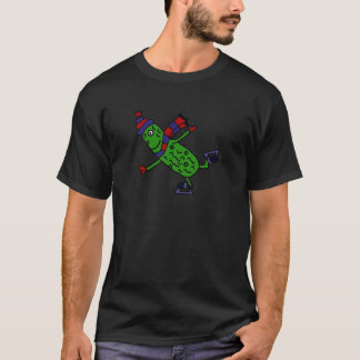 Funny Ice Skating Pickle Design T-Shirt