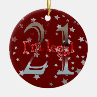 Funny I'm Legal 21st Birthday Stars Red Christmas Christmas Ornament
