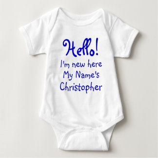 Funny I'm new here personalized text Baby Bodysuit