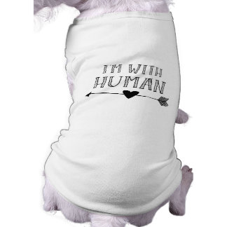 Funny: I'm with Human Sleeveless Dog Shirt