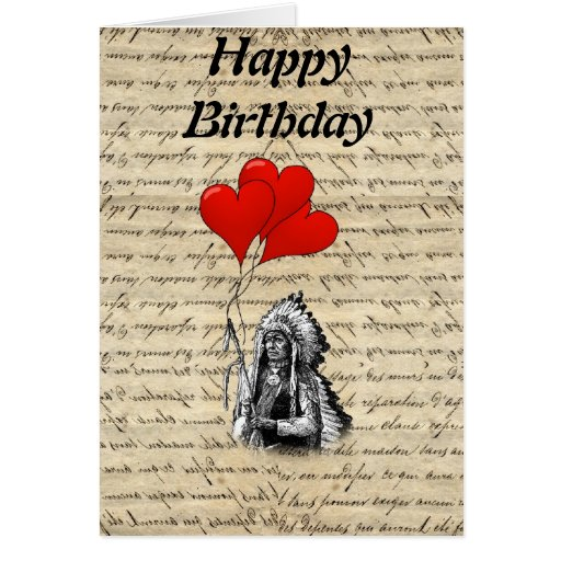 Funny Indian chief and heart balloons Greeting Cards