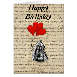 Funny Indian chief and heart balloons Greeting Card