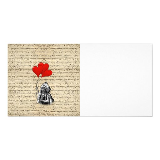 Funny Indian chief and heart balloons Photo Greeting Card