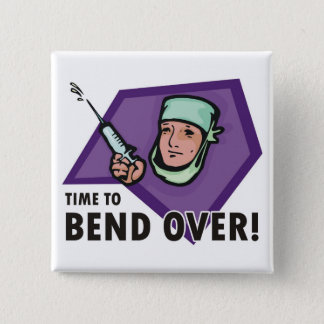 Funny injection doctor / nurse - squirting syringe 15 cm square badge
