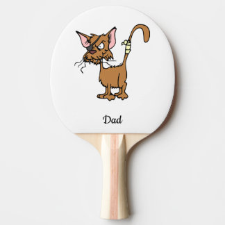 Funny injured warrior cat in brown ping pong paddle