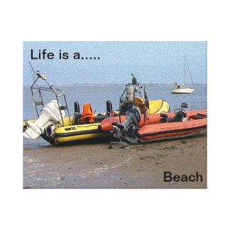 Funny, Inspirational, Beached boats Stretched Canvas Print