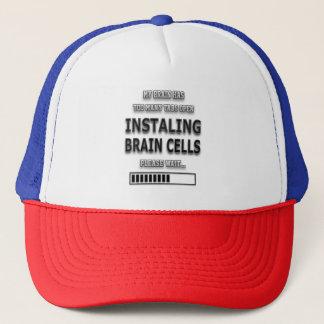 Funny  INSTALING BRAIN CELLS Typography Trucker Hat