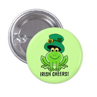 Funny Irish Cheersn Cartoon Frog St. Patrick's Day 3 Cm Round Badge