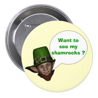 Funny Irish leprechaun Pinback Buttons