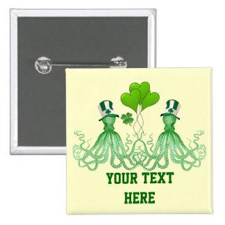 Funny Irish octopi St Patrick's day 15 Cm Square Badge