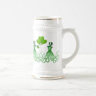 Funny Irish octopi St Patrick's day Beer Stein