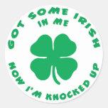 Funny Irish Pregnant Maternity Round Stickers
