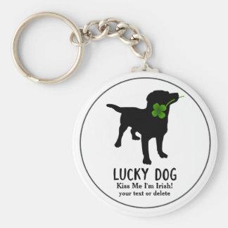 Funny Irish St. Patrick's Day Black Lab Lucky Dog Basic Round Button Key Ring