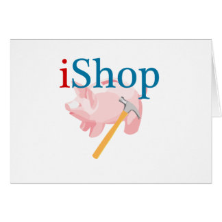 Funny iShop With Piggybank and Hammer Greeting Card