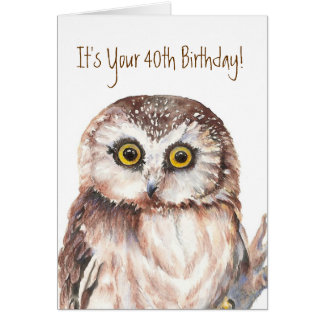 Funny,It's Your 40th Birthday! Shocked at Age, Owl Greeting Card