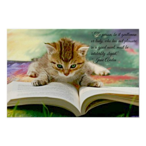 Funny Jane Austen Quote and Kitten Poster