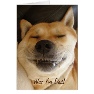 funny Japanese akita with cute smile dad Card