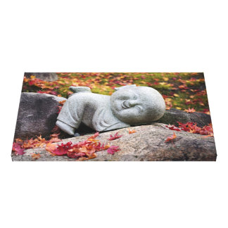 Funny Japanese monk statue with autumn leaves Gallery Wrap Canvas