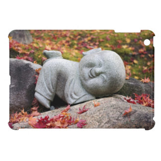 Funny Japanese monk statue with autumn leaves Cover For The iPad Mini