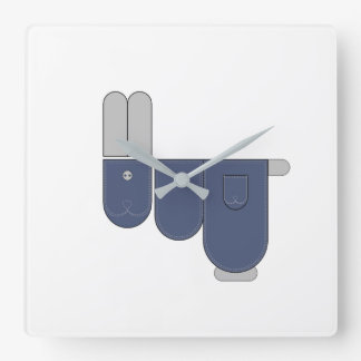 Funny jeans Bunny Square Wall Clock