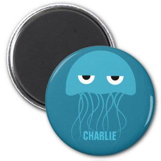 Funny Jellyfish custom monogram magnet