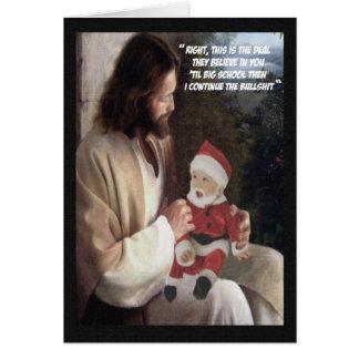 Funny Jesus and Santa Greeting Card