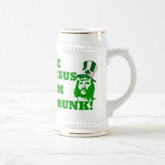 Funny Jesus  St Patrick's day Beer Stein
