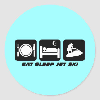 Funny jet ski classic round sticker