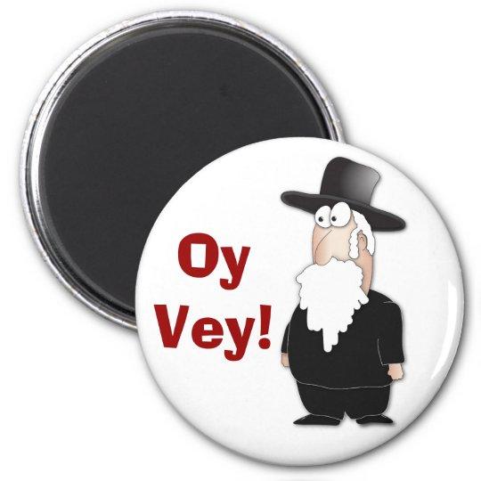 Funny Jewish rabbi - cool cartoon 6 Cm Round Magnet