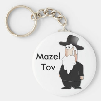 Funny Jewish rabbi - cool cartoon Basic Round Button Key Ring