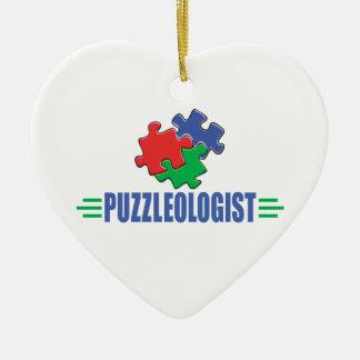 Funny Jigsaw Puzzle Ceramic Heart Decoration