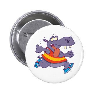 funny jogging hippo runner cartoon 6 cm round badge