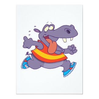 funny jogging hippo runner cartoon custom invitation