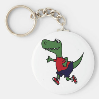 Funny Jogging Trex Dinosaur Basic Round Button Key Ring