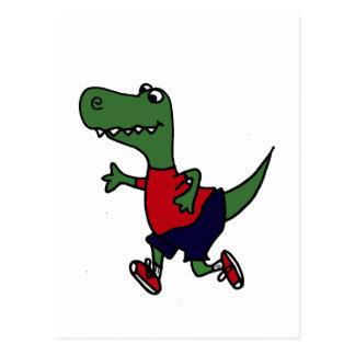 Funny Jogging Trex Dinosaur Postcard