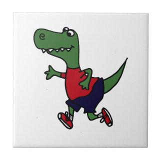 Funny Jogging Trex Dinosaur Ceramic Tiles