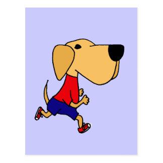 Funny Jogging Yellow Labrador Dog Postcard