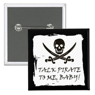Funny Jolly Roger Talk Pirate Button