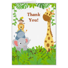 Funny Jungle Baby Animals Thank You Card