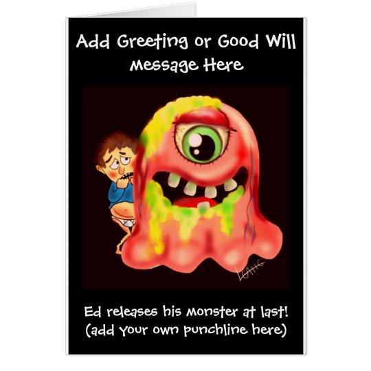 Funny 'just circumcised' cartoon card - add name