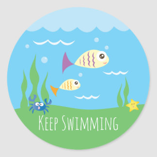 Funny Just Keep Swimming Underwater Ocean Fish Classic Round Sticker