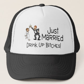 Funny Just Married Wedding Toast Trucker Hat