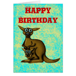 Funny kangaroo happy birthday card