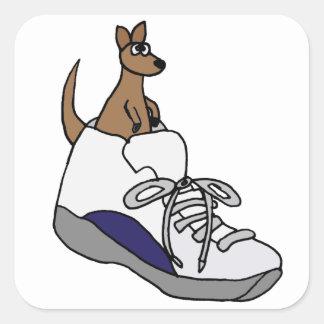Funny Kangaroo in High Top Tennis Shoe Design Square Sticker