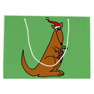 Funny Kangaroo in Santa Claus Hat Large Gift Bag