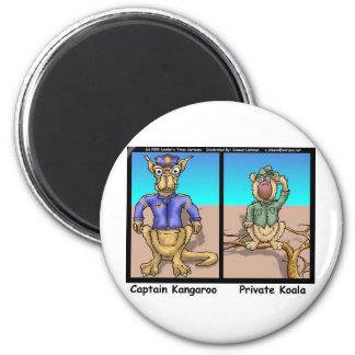 Funny Kangaroos & Koala Funny Cartoon Gifts Tees 6 Cm Round Magnet