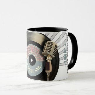 Funny Karaoke King Retro Vinyl Record Mug
