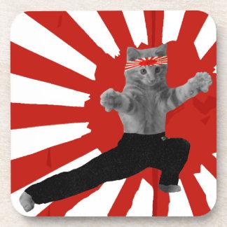 Funny Karate Kitten gifts Beverage Coasters